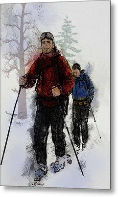 Cross Country Skiers Metal Print by Elaine Plesser