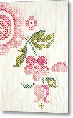 Cross Stitch Flower 1 Metal Print by Marilyn Hunt
