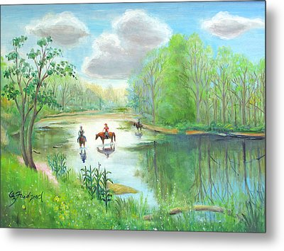 Crossing The Neshaminy Metal Print by Oz Freedgood