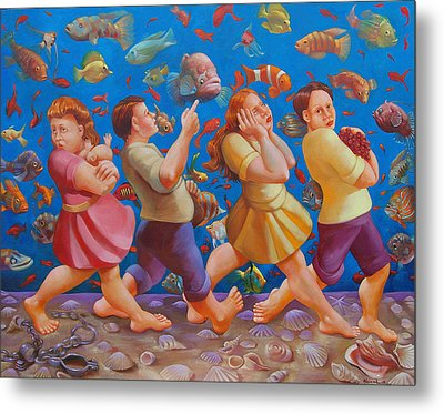Crossing The Red Sea Metal Print by Rosemarie Adcock
