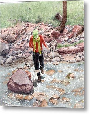 Crossing Virgin Stream Metal Print by Inger Hutton