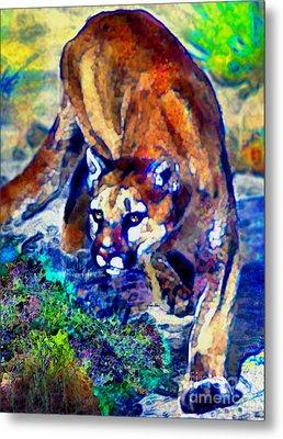 Crouching Cougar Metal Print by Elinor Mavor