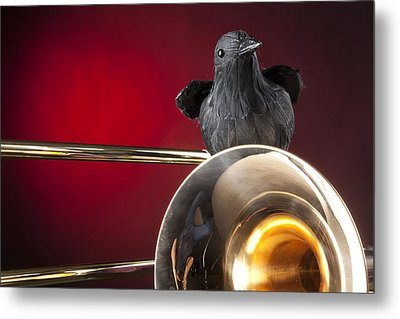 Crow And Trombone On Red Metal Print by M K  Miller