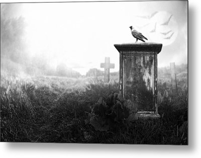 Crow On A Gravestone Metal Print by Jaroslaw Grudzinski
