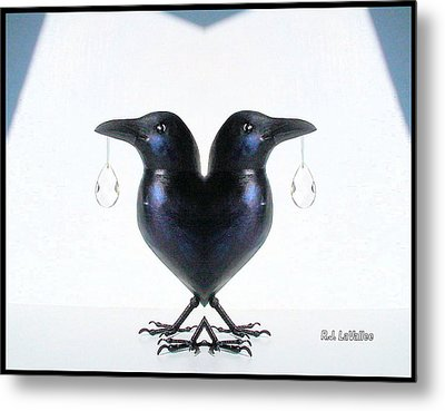 Crow With Crystal 6 Metal Print