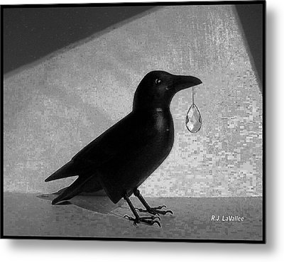Crow With Crystal 7 Metal Print