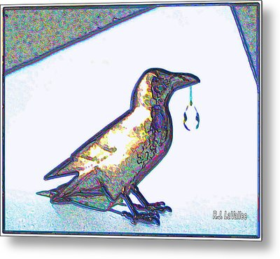 Crow With Crystal1 Metal Print