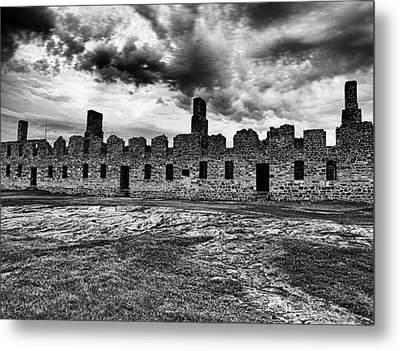 Crown Point Barracks Black And White Metal Print