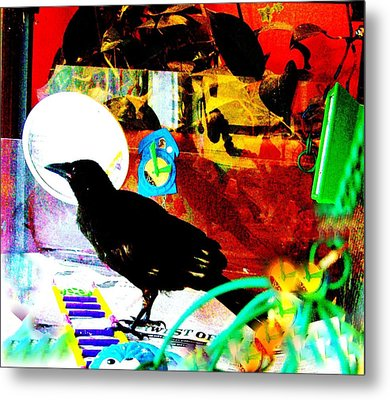 Metal Print featuring the mixed media Crow's Piano by YoMamaBird Rhonda