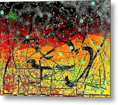 Metal Print featuring the mixed media Crows by YoMamaBird Rhonda