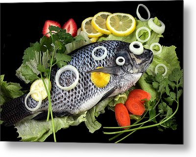 Crucian Fish With Vegetable Metal Print by Paul Ge