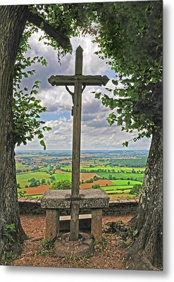 Metal Print featuring the photograph Crucifix Overlooking The French Countryside by Dave Mills