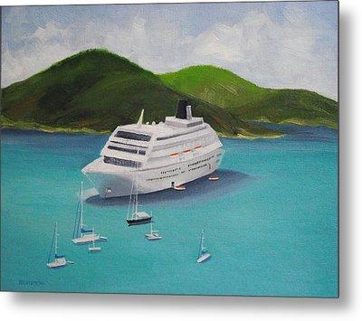 Cruise Ship Off Charlotte Amalie Metal Print by Robert Rohrich