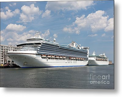 Cruise Ships At Cruiseport Boston Metal Print by Clarence Holmes