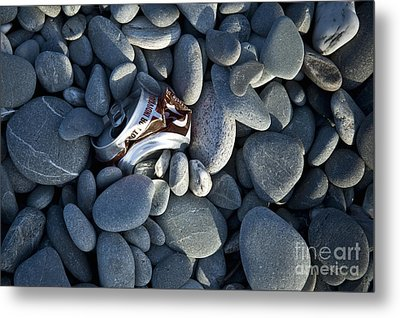 Crushed Can In Rocks Metal Print by Dave & Les Jacobs