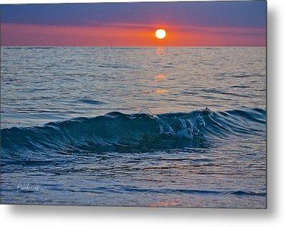 Crystal Blue Waters At Sunset In Treasure Island Florida 3 Metal Print