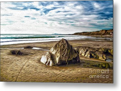 Metal Print featuring the painting Crystal Cove Sea Shore by Gregory Dyer