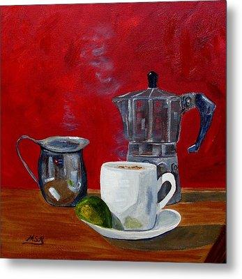 Cuban Coffee Lime And Creamer 2 Metal Print by Maria Soto Robbins