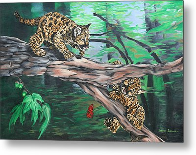 Metal Print featuring the painting Cubs At Play by Wendy Shoults