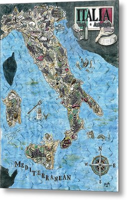 Culinary Map Of Italy Metal Print by Big Tasty
