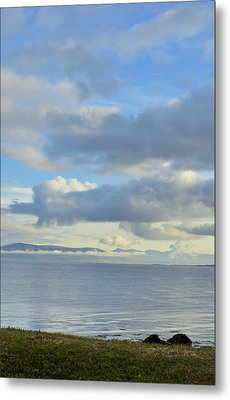 Cumulus Clouds Sea And Mountains Reykjavik Iceland Metal Print by Marianne Campolongo