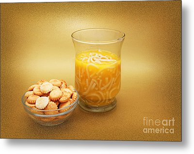 Cup O Soup And Oyster Crackers Metal Print by Andee Design