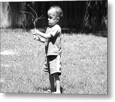 Metal Print featuring the photograph Curious Boy by Ester  Rogers