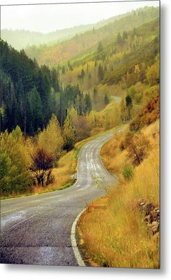 Curve Mountain Road With Autumn Trees Metal Print by Utah-based Photographer Ryan Houston