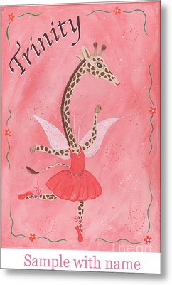 Custom Name Child's Giraffe Ballerina Metal Print by Kristi L Randall