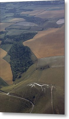 Cut Into A Chalk Hill, A Horse Commands Metal Print by James P. Blair