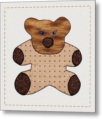 Cute Country Style Teddy Bear Metal Print by Tracie Kaska