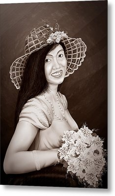 Cute Flower Girl Brown White Metal Print by Dumindu Shanaka