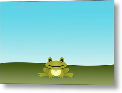 Cute Frog Sitting On The Grass Metal Print by © Roctopus