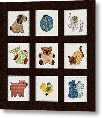 Cute Nursery Animals Baby Quilt Metal Print by Tracie Kaska