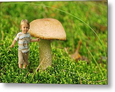 Cute Tiny Boy Playing In The Forest Metal Print by Jaroslaw Grudzinski