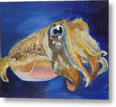 Metal Print featuring the painting Cuttle Fish by Jessmyne Stephenson
