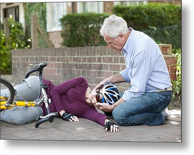 Cycling Accident Metal Print by