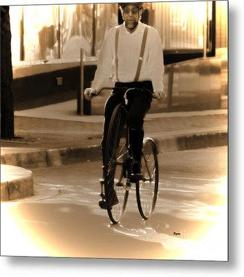 Cycling From Vintage Past  Metal Print by Steven Digman