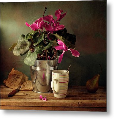 Cyclomen Flower Pot And Cup With Strips Metal Print by Copyright Anna Nemoy(Xaomena)