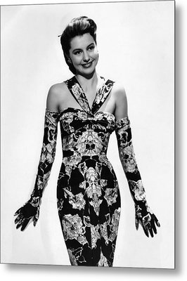 Cyd Charisse Modeling Flowered Evening Metal Print by Everett