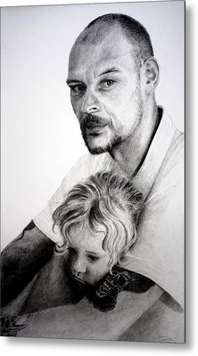 Metal Print featuring the drawing Daddy's Girl by Lynn Hughes