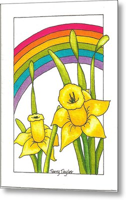 Metal Print featuring the painting Daffodils And Rainbows by Terry Taylor