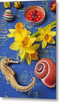 Daffodils And Seahorse Metal Print
