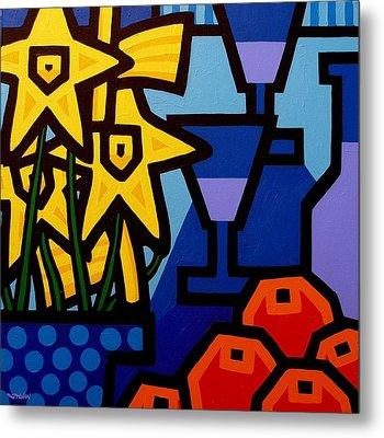 Daffodils Oranges And Wine  Metal Print by John  Nolan