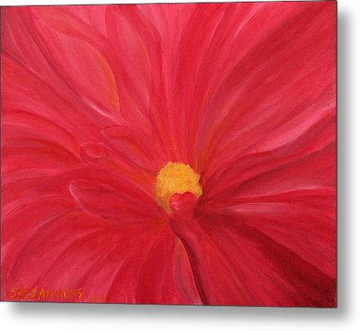 Metal Print featuring the painting Dahlia Macro by Janet Greer Sammons