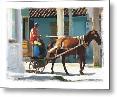 daily chores small town rural Cuba Metal Print by Bob Salo