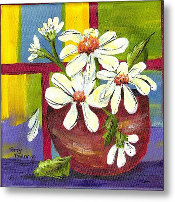 Metal Print featuring the painting Daisies In A Red Bowl by Terry Taylor