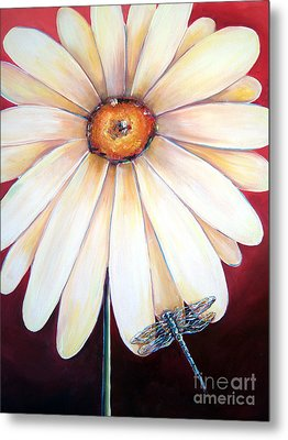 Daisy Dragonfly Metal Print