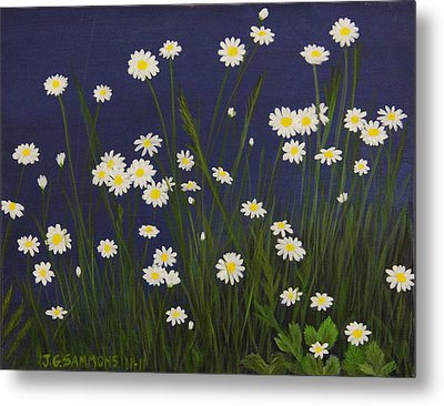 Metal Print featuring the painting Daisy Field by Janet Greer Sammons