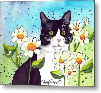 Metal Print featuring the painting Daisy M. Tuxedo by Terry Taylor